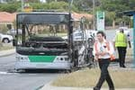 <p>FIRE DRAMA: The driver and a handful of passengers fled a Transperth bus which burst into flames and was destroyed. Picture: <strong>Richard Polden</strong></p>