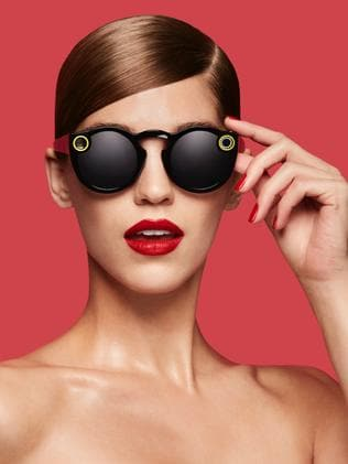 Snapchat has its own take on smart glasses, with sunnies that double as a video camera. Picture: AFP/SNAP INC