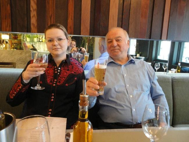 Ex-Russian spy Sergei Skripal and daughter Yulia pose in Zizzi restaurant at heart of poison plot. Picture: Supplied