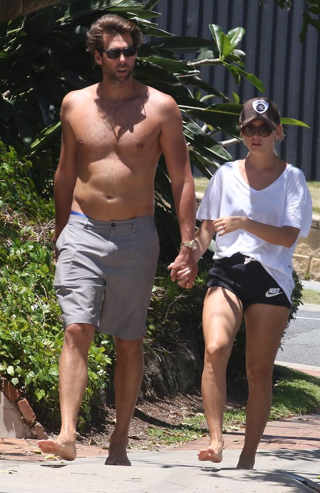 Grant Hackett and his ex-girlfriend, Maggie Keating, out for a walk on the Gold Coast in November last year. Picture: Mega