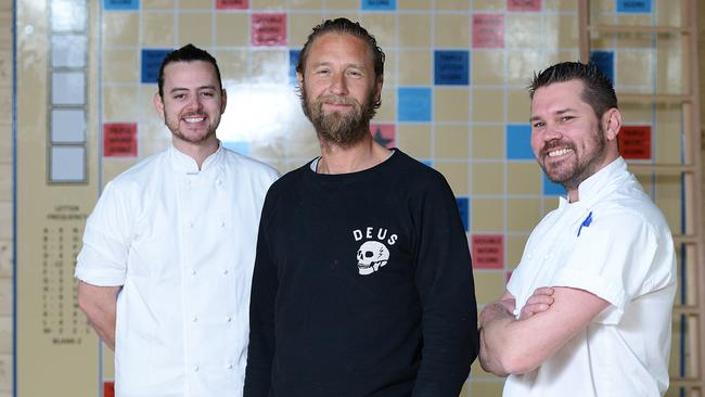 Executive chef Jordan Toft, Merivale CEO Justin Hemmes and head chef Zac Sykes in the Coogee Pavilion that will open on July 25.