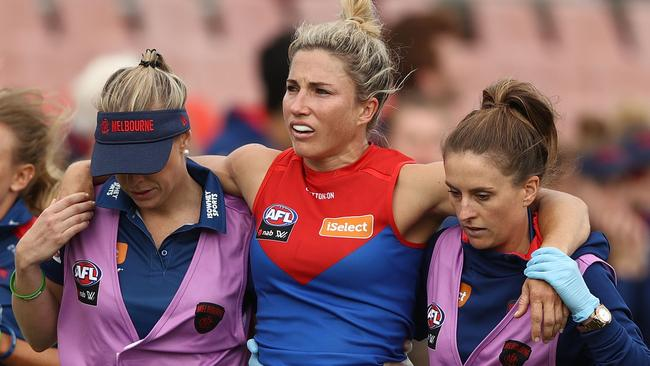 Melissa Hickey is helped from the ground. Picture: Getty Images