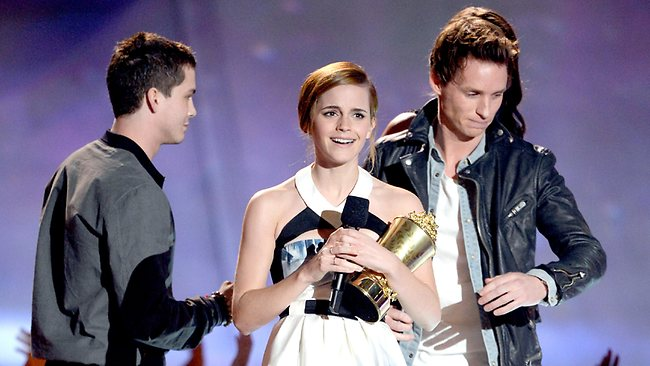 Emma Watson accepts the MTV Trailblazer award. Picture: Getty Images