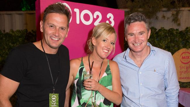 Mix102.3 hosts Mark Soderstrom and Jodie Oddy with radio stablemate, Dave Hughes.