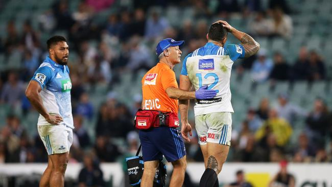 Sonny Bill Williams of the Blues leaves the field after a head knock at Allianz Stadium.