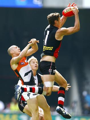 Hickey at his high-marking best. Picture: Michael Klein.