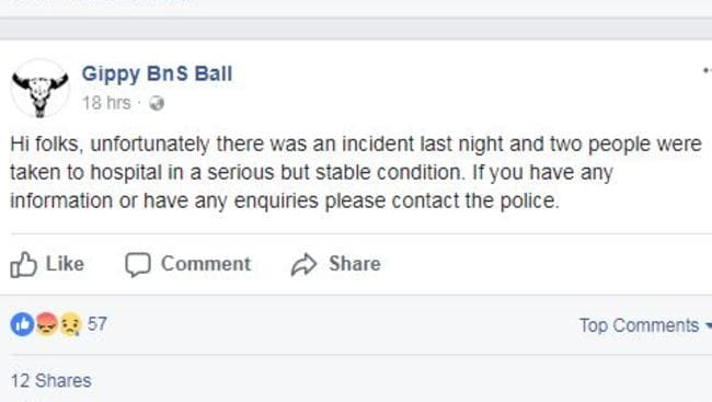 The Gippy BnS issued this statement about the ball in Tooraddin. Picture: Facebook