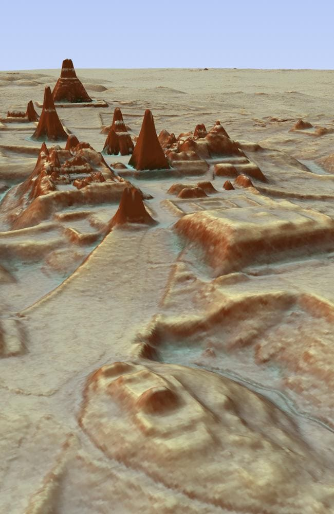 This digital 3D image provided by Guatemala's Mayan Heritage and Nature Foundation shows the Mayan archaeological site at Tikal in Guatemala created using LiDAR aerial mapping technology. Picture: Canuto & Auld-Thomas/PACUNAM via AP