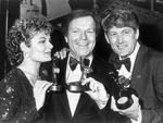 "Winner of the Gold Logie Award 1980. Mike Walsh (centre) for ""The Mike Walsh Show"", Nine Network. Paula Duncan, Mike and Paul Cronin with their Logie awards."