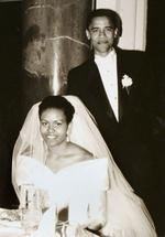 <p>This black-and-white file photo released by Obama for America shows Democratic presidential candidate Barack Obama and his bride Michelle Robinson on their wedding day, Oct. 18, 1992, in Chicago.</p>