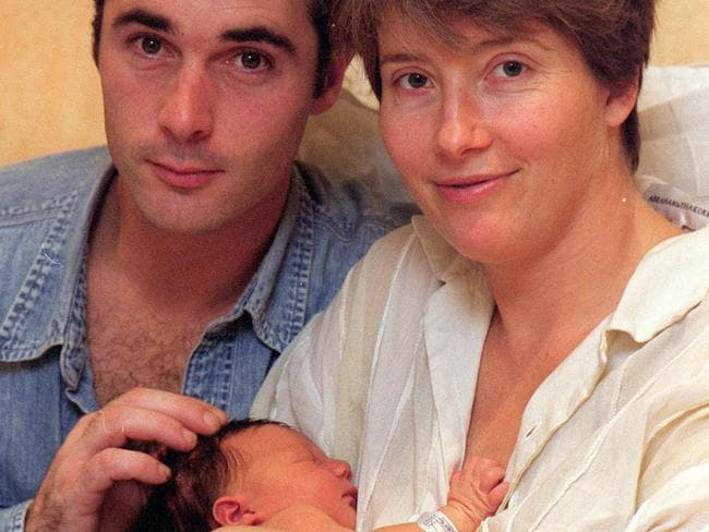 Good mum... Emma Thompson and partner Greg Wise with their newborn daughter Gaia in 1999.