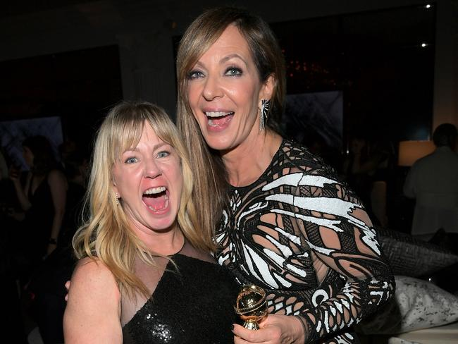 Figure skater Tonya Harding (L) and actor Allison Janney with her Golden Globe for playing Harding's mum, LaVanna. Picture: Getty