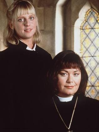 Dawn French (r) with Emma Chambers in The Vicar of Dibley. Picture: Supplied