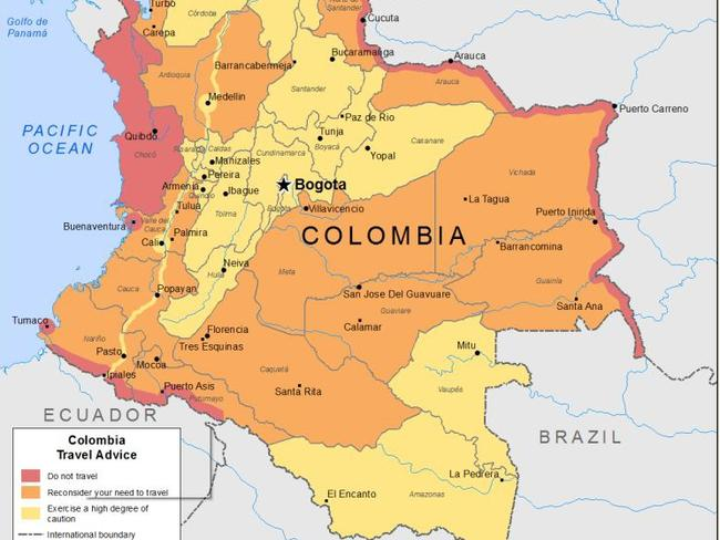 Map on smartraveller.gov.au shows areas in Colombia people should not travel to in red, to reconsider travelling to in orange and to exercise a high degree of caution in yellow. Source: DFAT