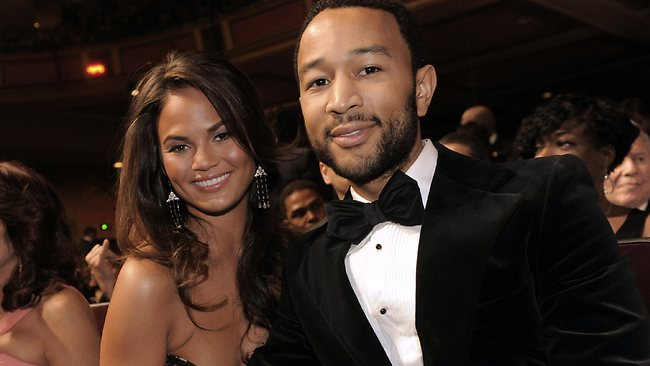 John Legend got on the piano at his wedding to Christine Tiegen to serenade her with 'All of Me'. Picture: Chris Pizzello