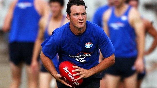 AFL football operations manager Adrian Anderson takes a hands-on approach by joining the Western Bulldogs for training. Picture: Michael Dodge