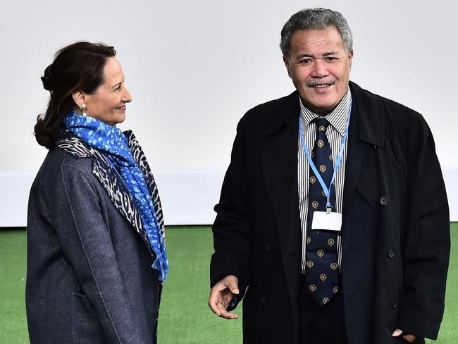 French Minister for Ecology, Sustainable Development and Energy, Segolene Royale, meets Tuvalu Prime Minister Enele Sosene Sopoaga Picture: AFP/Loic Venance