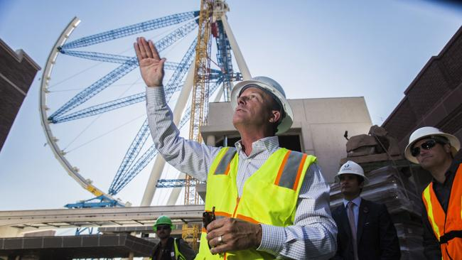 The world's tallest observation wheel, know as the High Roller is seen behind David Codiga, executive project director for The Linq, at The Linq construction site on Las Vegas Boulevard. Picture: AP