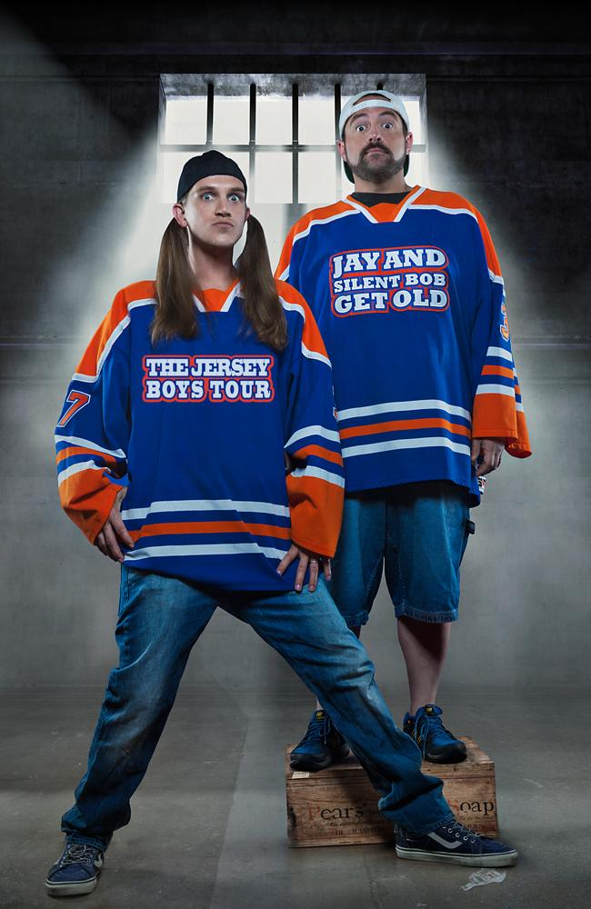 Smith and Jason Mewes ... The tandem team better known as Jay and Silent Bob are in Australia this week for the An Evening with Kevin Smith stage show. Picture: Supplied.