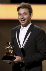 "Flume accepts the award for best dance/electronic album for ""Skin"" during The 59th GRAMMY Awards at STAPLES Center on February 12, 2017 in Los Angeles, California. Picture: AP"
