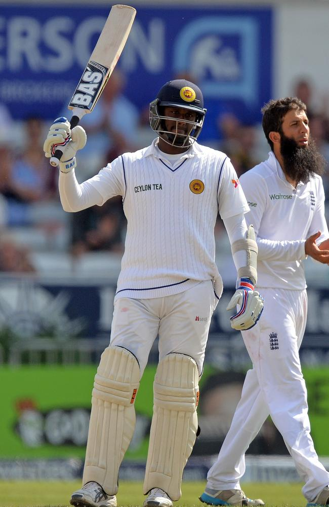 Sri Lanka's Angelo Mathews celebrates reaching 150 runs against England in the second Test.
