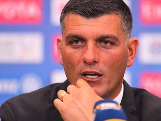 Brisbane Roar coach John Aloisi speaks to the media after his team's win in the group E AFC Champions League Match between Brisbane Roar and Kashima Antlers at Suncorp Stadium in Brisbane, Wednesday, April 12, 2017. (AAP Image/Albert Perez) NO ARCHIVING, EDITORIAL USE ONLY