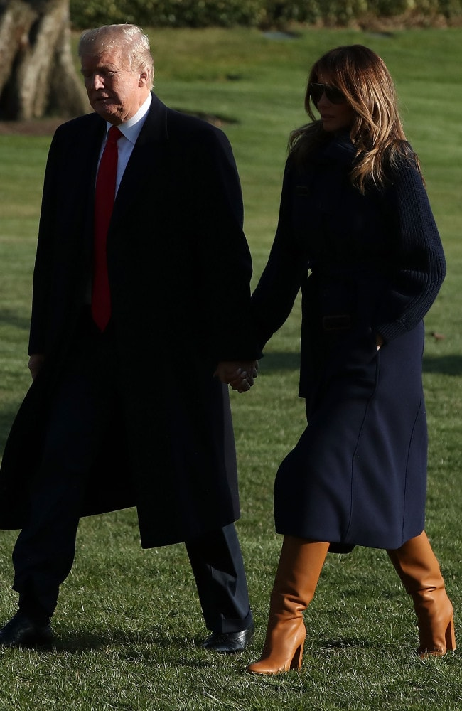 The Trumps travelled to New Hampshire where the US President delivered remarks about the ongoing opioid crisis at Manchester Community College. Photo: Mark Wilson / Getty