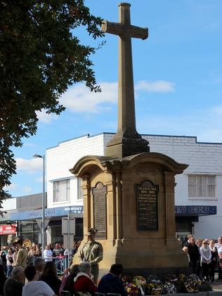 The New Norfolk Cenotaph on Anzac Day last year.