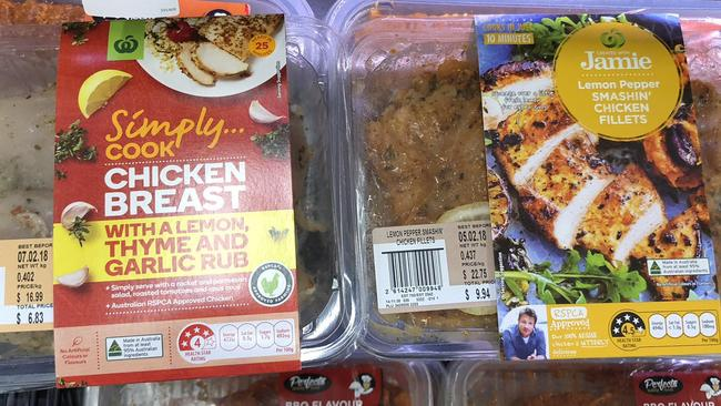 Similar packaging but different price for the Created with Jamie range (right) compared with the Woolworths range.