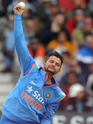 India's Suresh Raina bowls during the third one-day international cricket match against England. Picture: Olly Greenwood