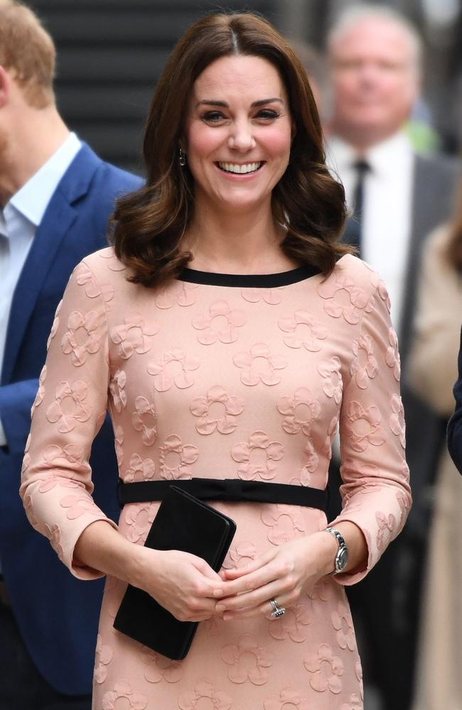 The Duchess of Cambridge looked radiant in pink. Picture: AFP/Chris J Ratcliffe
