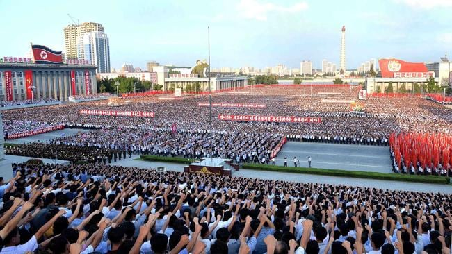 A rally in support of North Korea's stance against the US in Kim Il-sung Square in Pyongyang. Picture: AFP/ KCNA via KNS