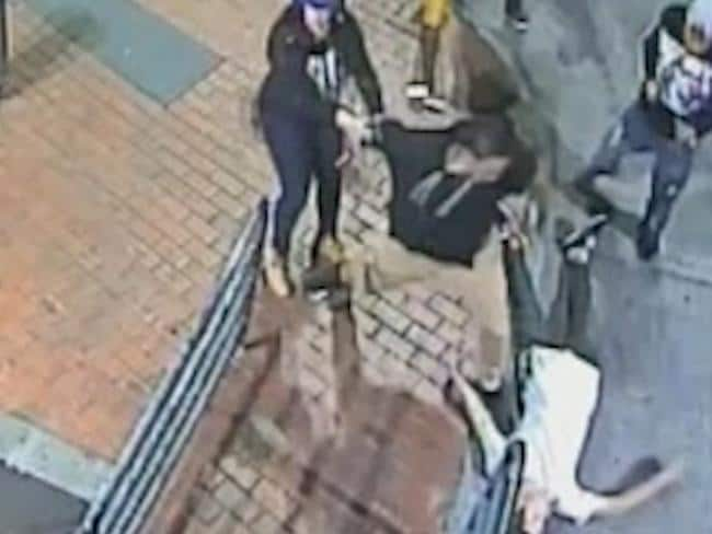 CCTV footage shows the moment Kane Dulieu is coward-punched in a wild brawl outside a pub in Wantirna South. Picture: Herald Sun