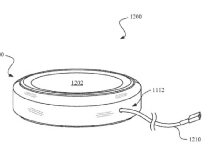 This patent appears to show a wireless charging plate, which will charge the phone up when it's placed on top.