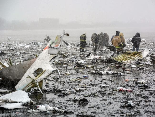 A handout picture released by Russia's Emergencies Ministry shows Russian rescuers working at the crash site.