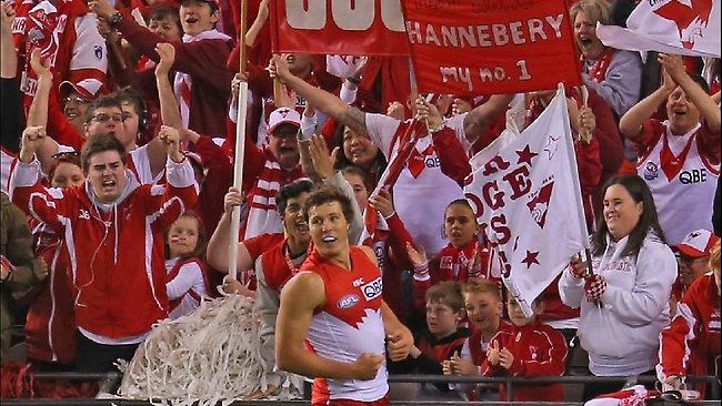 Sydney's Kurt Tippett celebrates after scoring one his six goals against the Bulldogs.