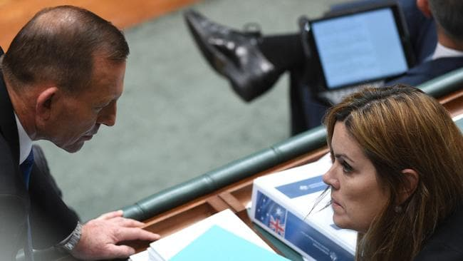 Former Prime Minister Tony Abbott talks to his chief of staff Peta Credlin. Picture: Mick Tsikas Source: AAP