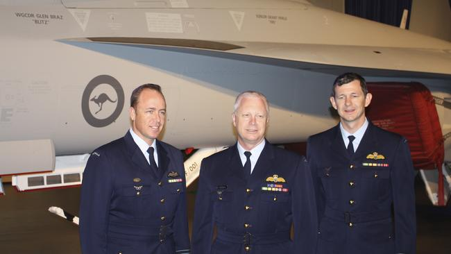Senior ranks ... Steve Roberton, Mark Binskin and Glen Braz, at the launch of the RAAF's first Super Hornet fighter at the Boeing factory in St Louis USA. Picture: Supplied