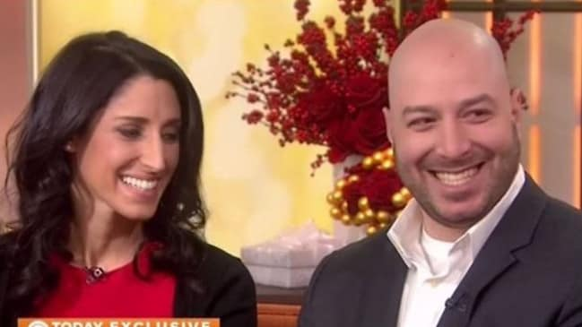 Married ... Nurse Krista D'Agostino and James Costello on the US Today show after their engagement. Mr Costello said he's actually happy he was injured because he got to meet his wife. Picture: Supplied