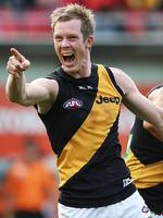 That's what I'm talkiing about ... Jack Riewoldt celebrates another goal. Picture: Phil Hillyard