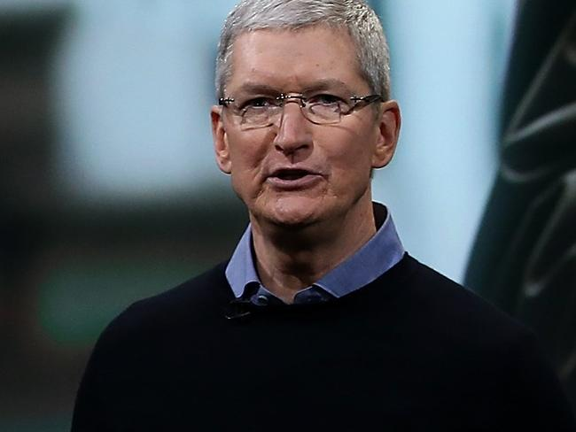 Personal privacy ... Apple CEO Tim Cook discusses iPhone security during an Apple special event in Cupertino, California. Picture: Getty Images