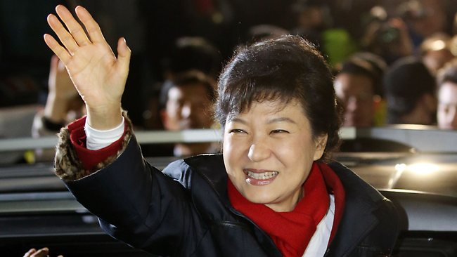 South Korea's president-elect Park Geun-Hye waves to supporters outside the party headquarters in Seoul.