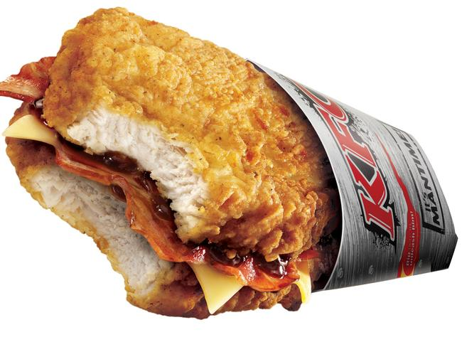 Double the fun ... KFC's bun-less burger comprised two chicken fillets sandwiching two slices of cheese, bacon and sauce.