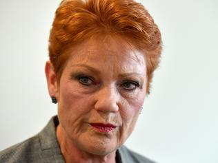One Nation leader Senator Pauline Hanson at a press conference at Parliament House in Canberra, Monday, October 16, 2017. (AAP Image/Mick Tsikas) NO ARCHIVING