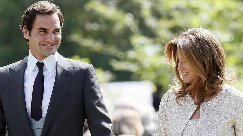 Swiss tennis player Roger Federer and his wife Mirka arrive at St Mark's Church. Picture: Getty