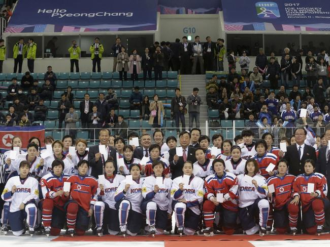 Women's ice hockey players from South Korea and North Korea will form a joint team for next month's Winter Olympics. Picture: AP