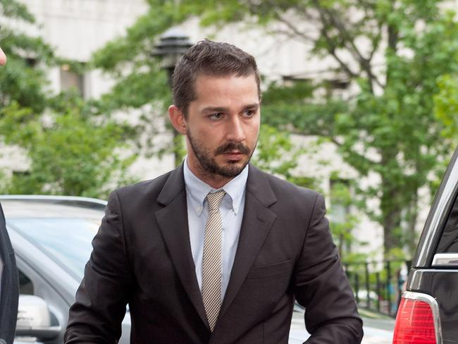 Charged ... Former Transformers star LaBeouf arrives at Manhattan Criminal Court. Picture: Getty