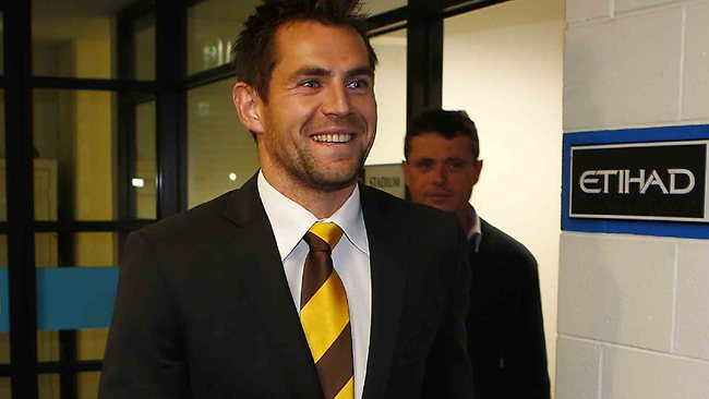A happy Hawthorn captain Luke Hodge leaves the AFL tribunal. Picture: Michael Klein