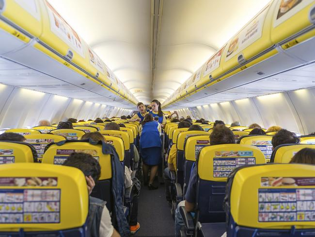 Inside a Ryanair plane on a quieter day.
