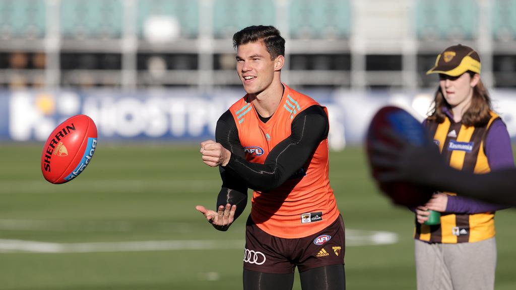 Jaeger O'Meara could play out the season in the VFL. Picture: Luke Bowden